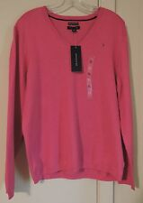 NWT Womens Tommy Hilfiger Pink XL V-Neck Sweater Pima Cotton Blend $54.50