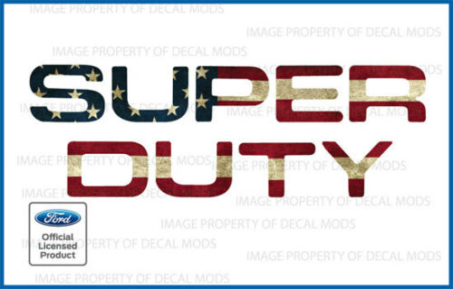 2008-2016 F250 Super Duty HOOD GRILLE Letters Decals Stickers AMERICAN FLAG WORN
