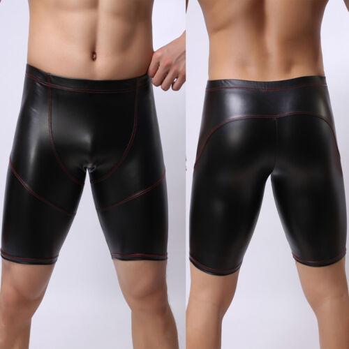 Men Faux Leather PVC Wet Look Boxers Briefs Shorts Underwear Underpants Swimwear
