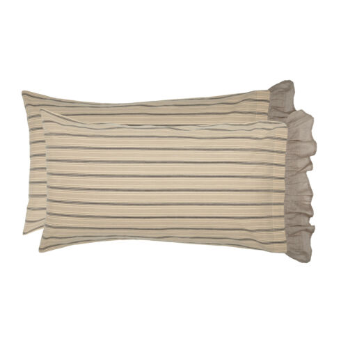 Sawyer Mill Pillow Case Cover Set King Standard Cotton Gray Cream VHC Farmhouse