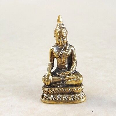 Thai BUDDHA Meditation Amulet Statue Brass Luck Protection Wealth Health Lucky