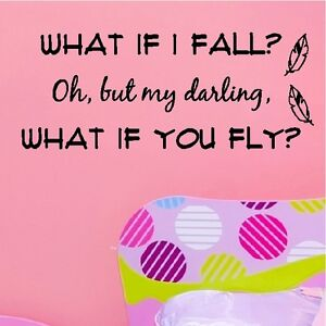 What If I Fall Inspirational Fearless Childrens Quote Removable
