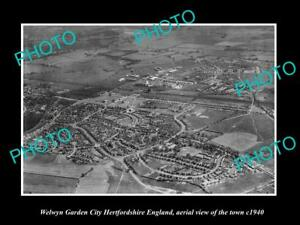 OLD-HISTORIC-PHOTO-OF-WELWYN-GARDEN-CITY-ENGLAND-AERIAL-VIEW-OF-TOWN-c1940-1