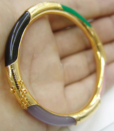 Multicolor Green Black Red Purple Jade Yellow Gold Plated Clasp Bangle Bracelet