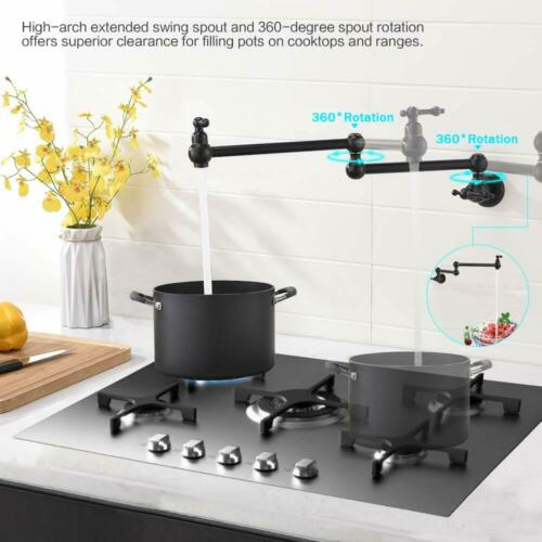 Kitchen Pot Filler Faucet Folding Stretchable Double Joint Swing Arm Wall Mount