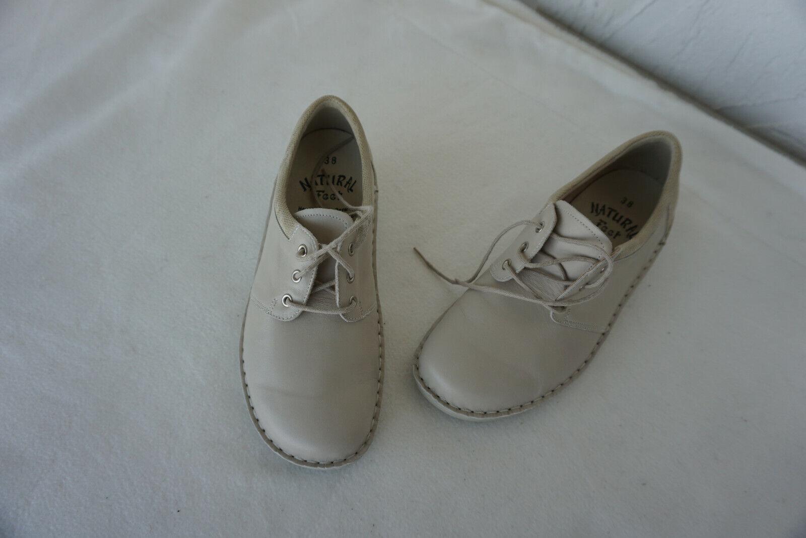 Orthopädische Natural Feet Damen Schuhe bequem Schnürschuh Gr.38 Beige Leder NEU