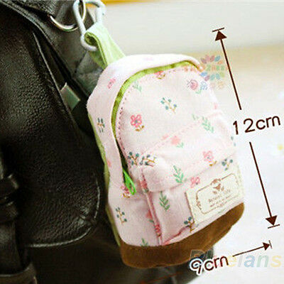 Case Coin Card Backpack Purse Wallet Zipper Bag Pouch Flower Canvas Box BC7U