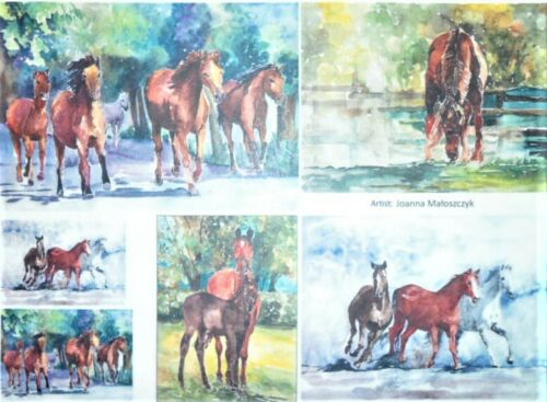 Rice Paper Decoupage Scrapbook Craft Sheet Picture Horses  451