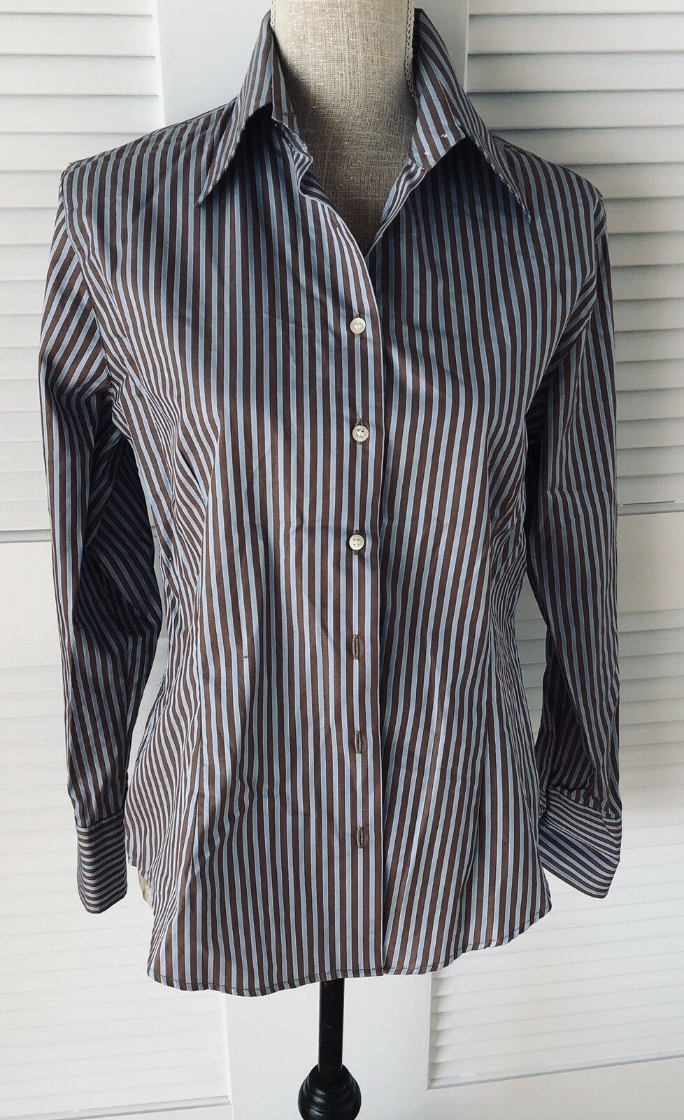 blueE AND BROWN STRIPE LADIES MANTAILORED ITALIAN FINEST COTTON BLOUSE