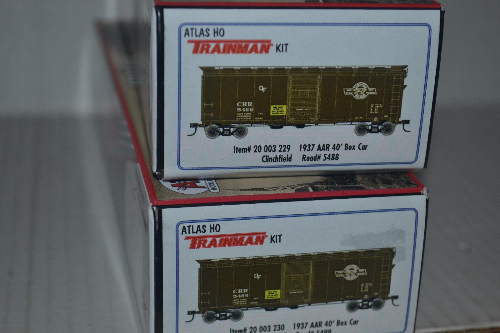 2 Atlas Clinchfield 1937 AAR 40' Box Car Kit Ho Scale 20003229, 20003230