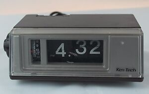 vintage ken tech flip clock radio alarm model t 405. Black Bedroom Furniture Sets. Home Design Ideas