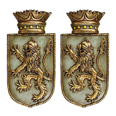 S/2 Medieval Rampant Lion Shield Plaques Design Toscano Medieval  Lion Shield