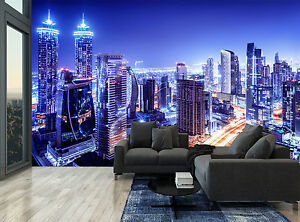 Blue City Electric Light Skyscraper Wall Mural Photo Wallpaper GIANT WALL DECOR