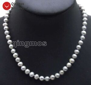 7-8mm-Gray-Round-Natural-Freshwater-Pearls-17-034-Chokers-Necklace-for-Women-ne5915