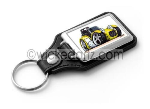 RetroArtz Cartoon Car Caterham Westfield Lotus Super 7 Yellow Classic Key Ring
