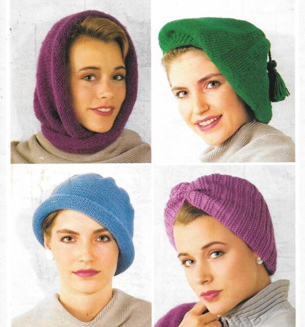 Vintage Knitting Pattern Lady s Chemo Hats Beret Scarf Turban DK ... 172c7dfd4df