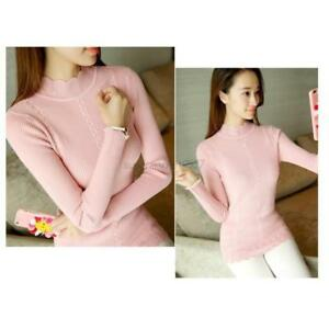 Women-Solid-Turtleneck-Sweater-Casual-Work-Warm-Pullovers-Cotton-Long-Sleeve-Top