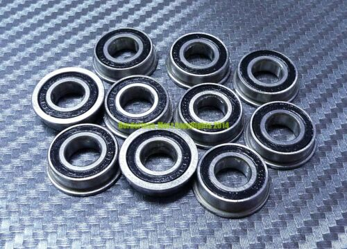 F606-2RS Metal Flanged Rubber Sealed Ball Bearing Bearings 6x17x6 mm 10 Pcs