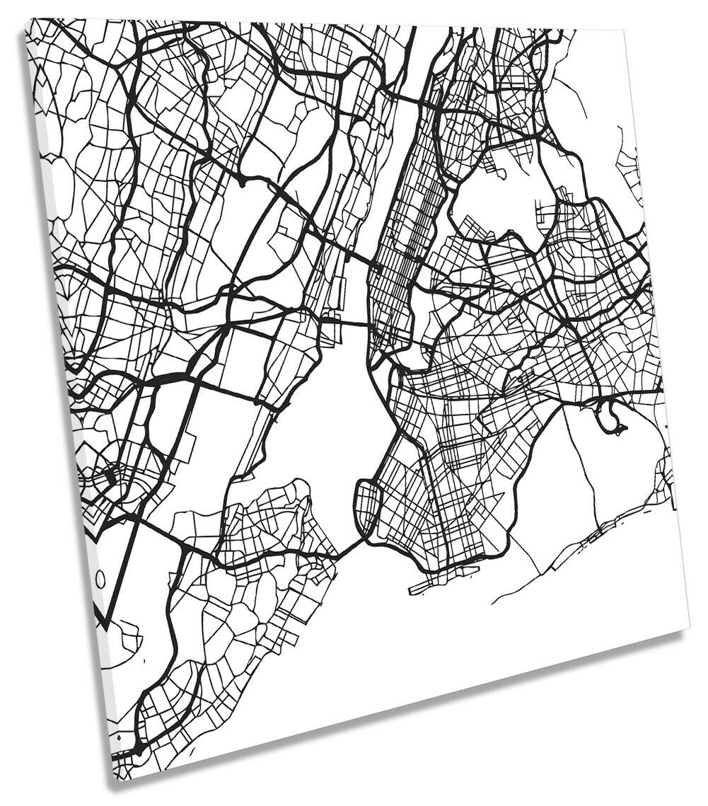 New York City Street Map Picture CANVAS WALL ART Square Print