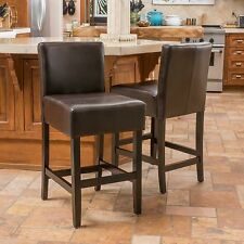 (Set of 2) Contemporary Brown Bonded Leather Counter Stool