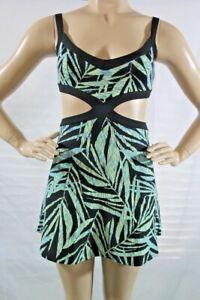 BCBG-New-Women-s-Elysabeth-Cutout-Fit-Flare-Palms-Print-Dress-SZ-L-Black-Comb