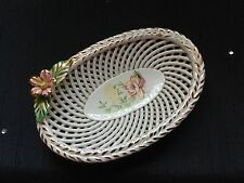 VINTAGE PORCELAIN FLOWER OVAL BASKET...