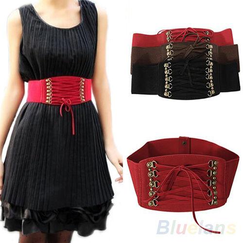 Womens Lady Rivet Elastic Buckle Wide Waist Belt Waistband Corset Fashion Gift