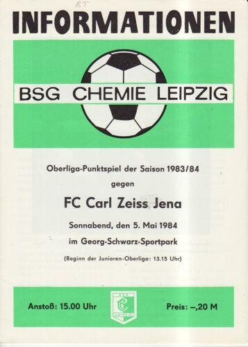 OL 83//84  BSG Chemie Leipzig FC Carl Zeiss Jena
