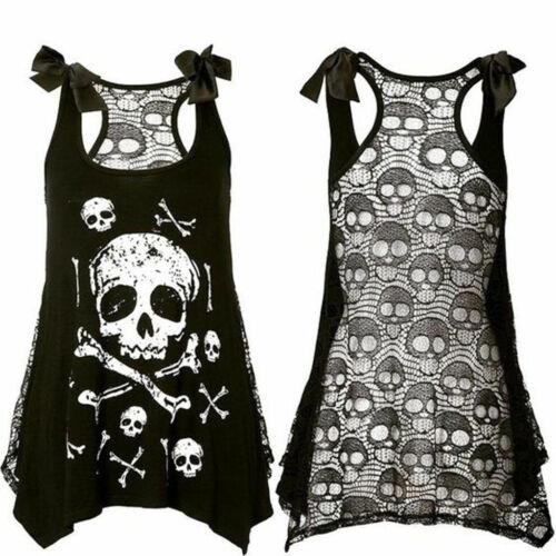 New Womens Gothic Skull Printed Tank Vest Punk Rock Top T-shirt Size6-22 T56835