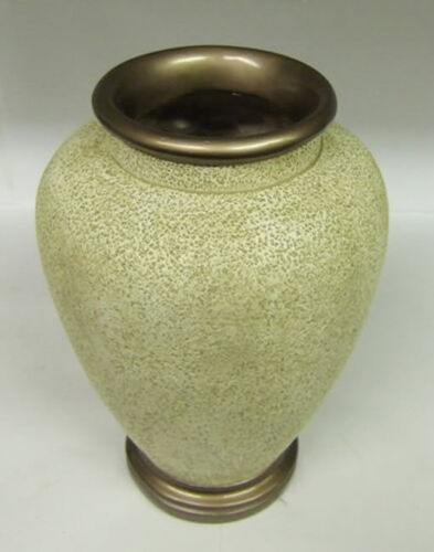 Stone Effect Textured Urn Ornament with Bronzed Lip Flower Vase OW007