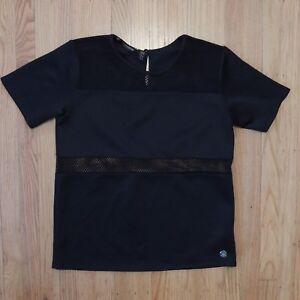 Kardashian-Kollection-Blouse-Womens-Size-Large-Black-Mesh-Details-Short-Sleeve