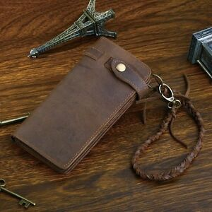 Men-Women-Unisex-Brown-Bifold-Long-Style-Hand-Made-Leather-Chain-Wallet