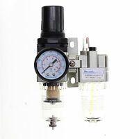 1pc 1/4 Mini Air Filter/ Regulator +oiler Combo With Gauge Mettleair Ac2010-n02