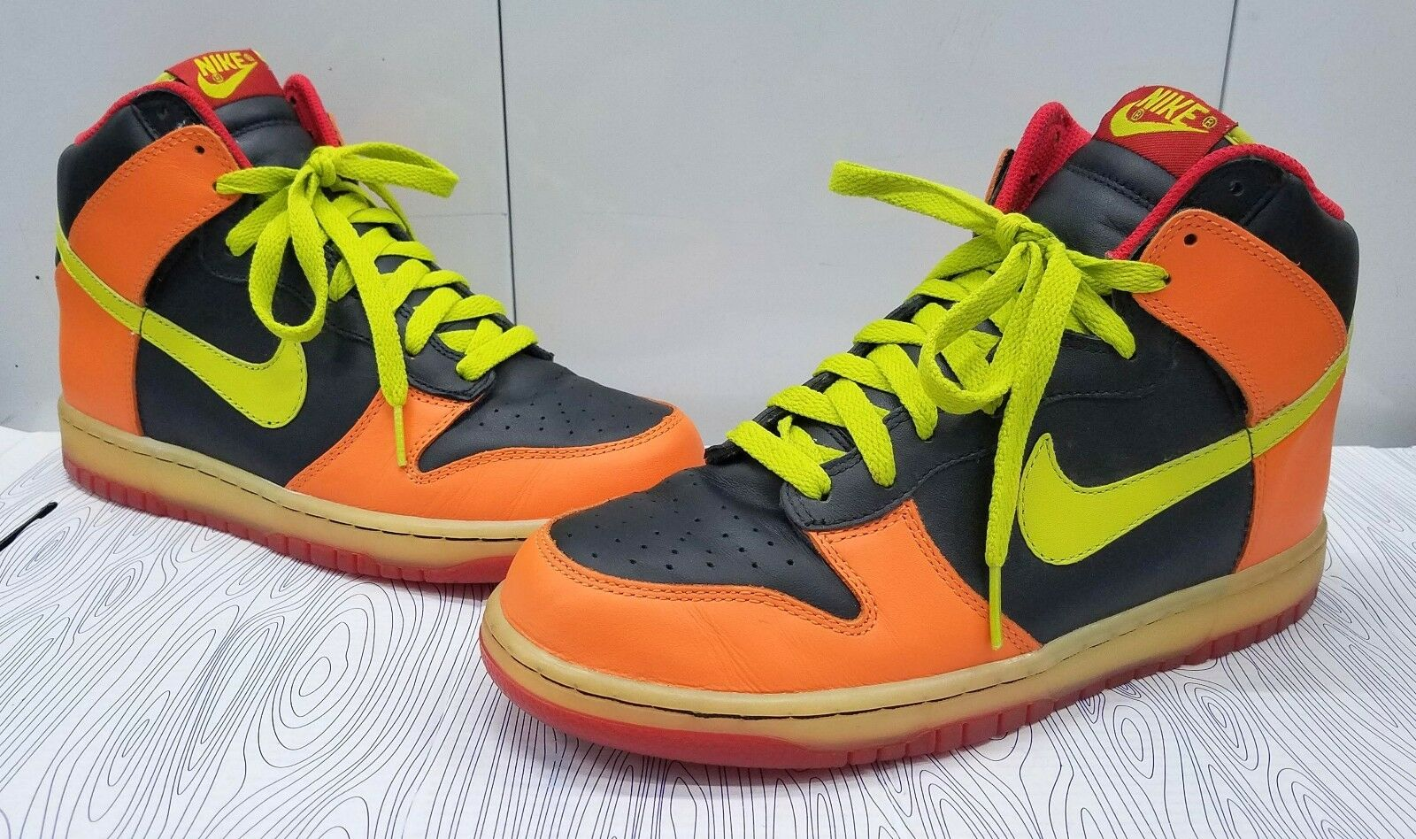 NIKE SB DUNK HIGH ORANGE/LIME/BLACK/RED MEN'S SIZE 8 2018 309432-032 Wild casual shoes