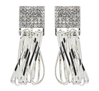 Clip On Earrings - silver plated drop earring with crystals & hoops - Bria S