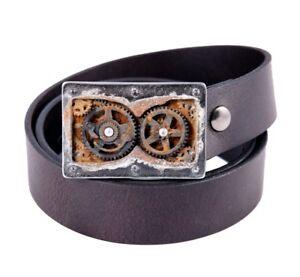 Tobacco Road Steampunk Gears Buckle Brown Leather Belt Steampunk Belt