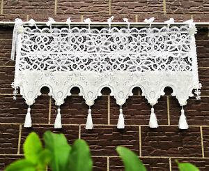 Victorian Battenburg Lace Tasseled Window Curtain Valance Cafe White Ebay