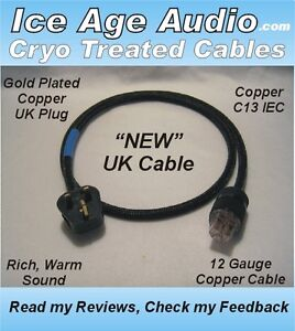 10 Gauge Audiophile Cryo Treated Copper Male US /& 20 Amp IEC Power Cord//Cable