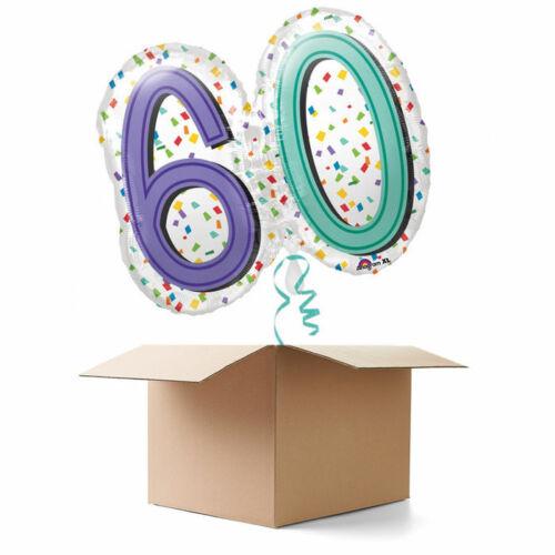 NEU Ballongrüsse Rainbow Zahl XL 1 Ballon Geburtstagsballon 60