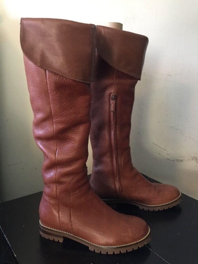 Brown Tan Cole Haan Pebbled Leather Waterproof Knee High Boots Sz 6.5 B
