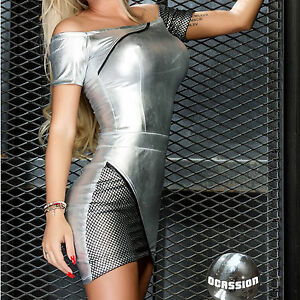Ocassion-Partykleid-Lederlook-Minikleid-Bodycon-Kleid-Wetlook-metallic-Silber