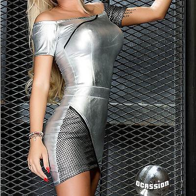 Ocassion Damenkleid Partykleid Lederlook Minikleid Wetlook Netz Dress Silber
