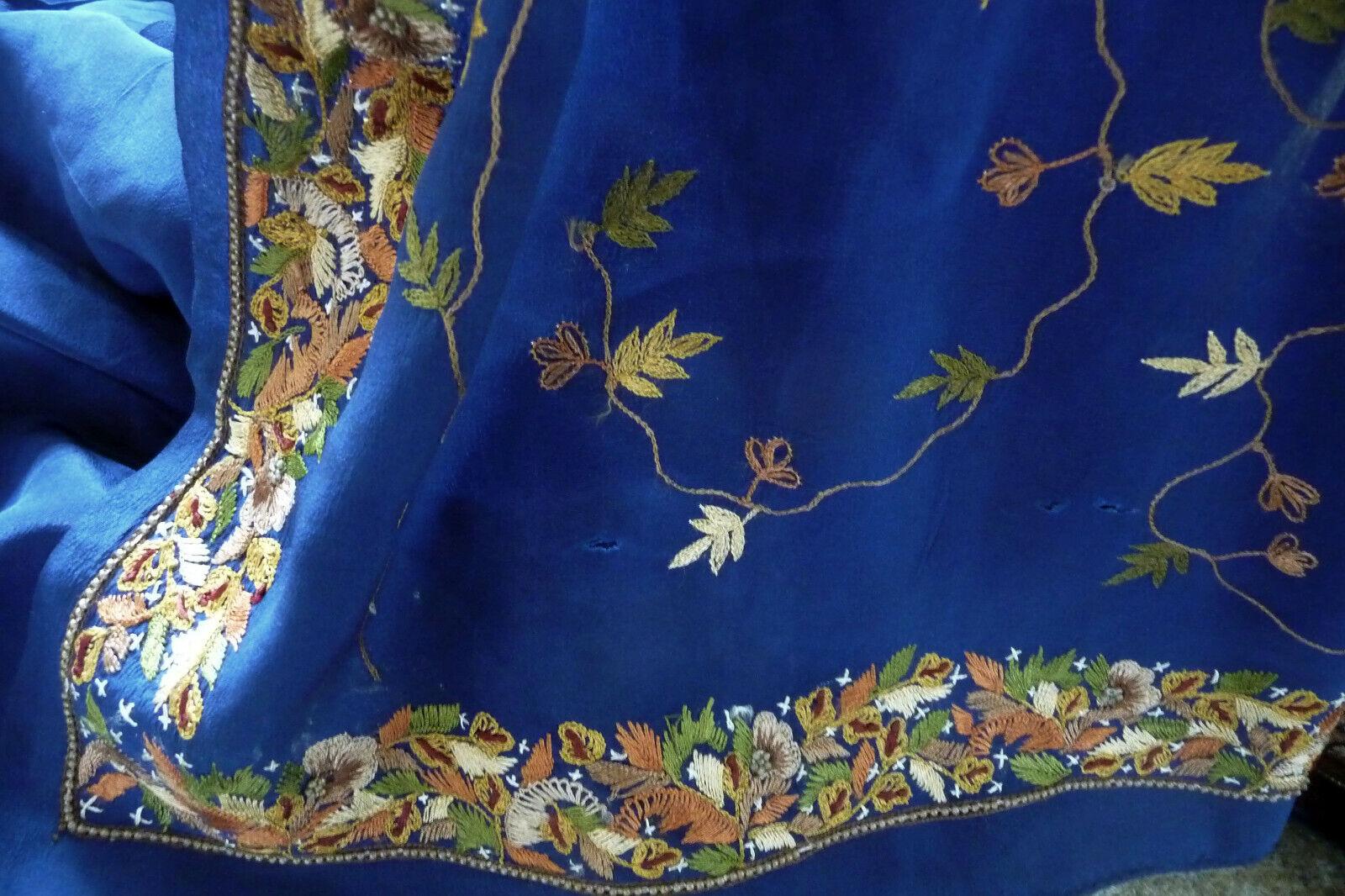 Bollywood  Seiden-Sari mit passender Blause tiefblau Stickerei Stickerei Stickerei 7f2e80