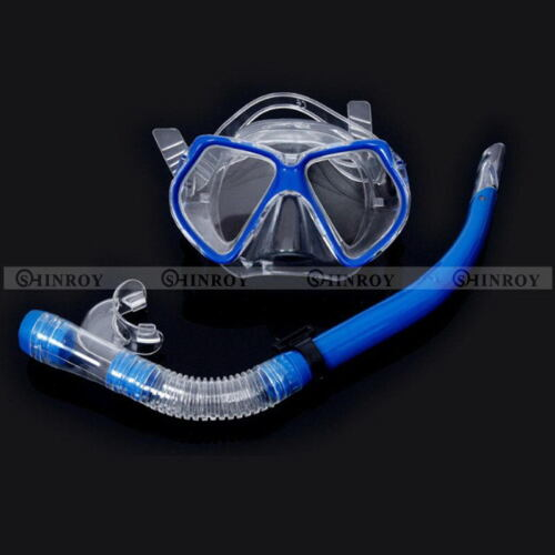 Glass PVC Adult Swimming Swim Diving Scuba Anti-Fog Goggles Mask /& Snorkel Set