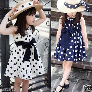 4b5a7494c5126 Kids Baby Girls Summer Clothes Clothing Polka Dot Bow Belt Princess ...