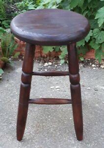 Antique-Elm-Wooden-Work-Stool-50-cms-Tall