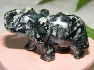 139-ct-Snow-Obsidian-Elephant-Artisanal-Carving-Vintage-Japan-20th-Century