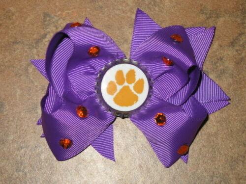 "NEW /""CLEMSON Tigers/"" South Carolina Girls Ribbon Hairbow Bow Rhinestone NCAA"