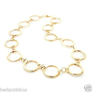 26-034-Technibond-Hammered-Circle-Link-Chain-Necklace-14K-Yellow-Gold-Clad-Silver