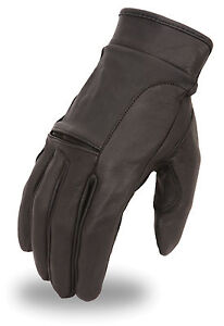 Men-039-s-Leather-Motorcycle-Glove-w-Flex-Knuckle-Gel-Palm-amp-Wrist-Strap-FI142-GEL